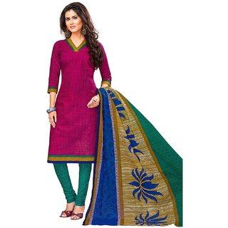 Jevi Prints Pink & Green Unstitched Synthetic Crepe Salwar Suit with Dupatta