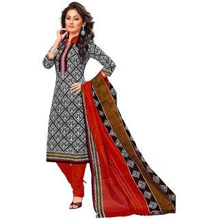 Jevi Prints Black & Orange Unstitched Synthetic Crepe Salwar Suit with Dupatta