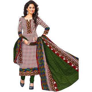 Jevi Prints Multicolor & Green Unstitched Synthetic Crepe Salwar Suit with Dupatta
