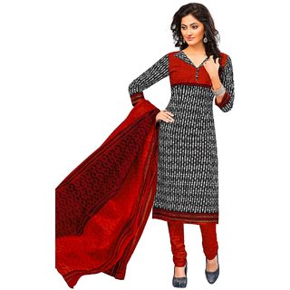 Jevi Prints Black & Orange Unstitched Synthetic Crepe Salwar Suit with Dupatta