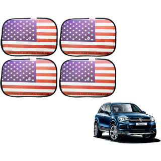 Auto Hub American Flag Car Window Sunshades For Volkswagen Touareg - Pack of 4