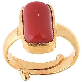 Jaipur Gemstone 10.25 ratti Red Coral(Ashtadhatu ring)