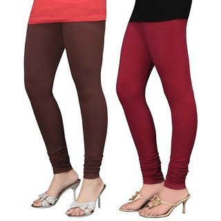 Stylobby Brown and Maroon Viscose pack of 2 Leggings