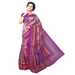 Riti Riwaz Multicolor Bhagalpuri Silk Printed Saree with Unstitched Blouse BGPSR35