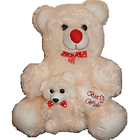 18 Inch White Teddy Bear With Little Baby And Little Heart