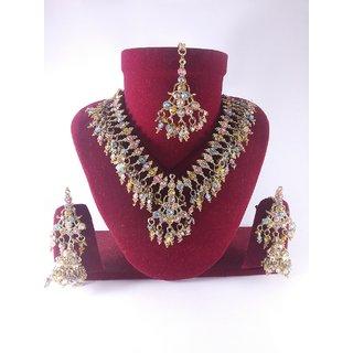Party Bridal Imitation Jewellery-Beautiful Necklace Set With Mang Tika J3
