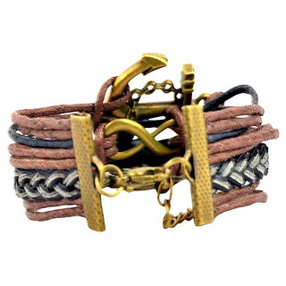 Alpha Man Anchor Wheel Peace Bracelet in Dark Brown Colour