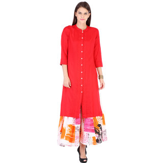 Riti Riwaz Red Solid/Plain Rayon Round Neck 3/4 Sleeve Kurta with Palazzo VARSS165121_PZ17115