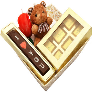 Buy Valentine Chocolates Basket Hamper With Teddy Chocolate Rose