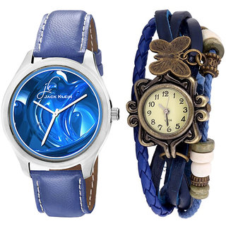 Valentine Combo of Round Dial Blue Strap Watches And Blue Vintage Watches