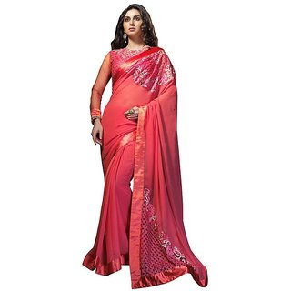 Vistaar Creation Red Georgette Self Design Saree With Blouse