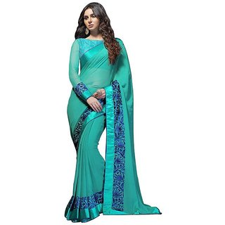 Vistaar Creation Blue Georgette Self Design Saree With Blouse
