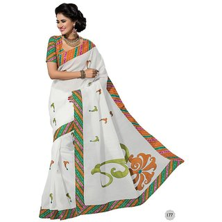 Vistaar Creation White Cotton Self Design Saree With Blouse