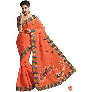 Vistaar Creation Orange Cotton Self Design Saree With Blouse