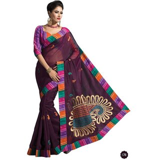 Vistaar Creation Purple Cotton Self Design Saree With Blouse