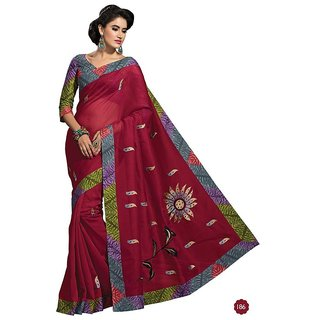Vistaar Creation Red Cotton Self Design Saree With Blouse