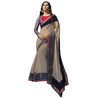 Vistaar Creation Beige Chiffon Self Design Saree With Blouse