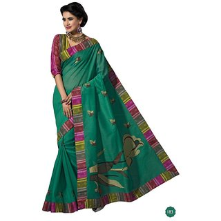 Vistaar Creation Green Cotton Self Design Saree With Blouse