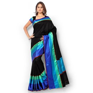Vistaar Creation Black Art Silk Self Design Saree With Blouse