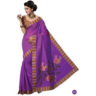 Vistaar Creation Purple Cotton Self Design Saree With Blouse