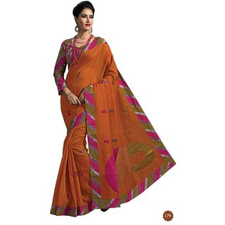 Vistaar Creation Orange Cotton Self Design Saree With Blouse