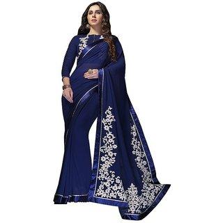 Vistaar Creation Blue Georgette Self Design Saree With Blouse