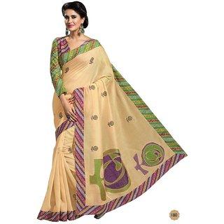 Vistaar Creation Beige Cotton Self Design Saree With Blouse