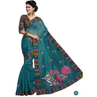 Vistaar Creation Blue Cotton Self Design Saree With Blouse