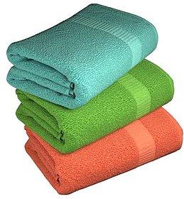 ANGEL HOMES COTTON SET OF 3 BATH TOWELS assorted colors