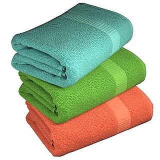 ANGEL HOMES COTTON SET OF 3 BATH TOWELS assorted colors
