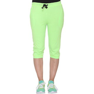 d845c165 Buy Vimal-Jonney Green Cotton Blended Capri For Women Online - Get ...