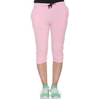 Vimal-Jonney Pink Cotton Blended Capri For Women