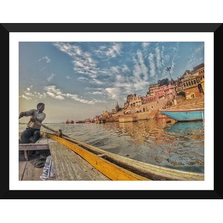 Tallenge - Boatman In Varanasi - Xlarge Size Ready To Hang Framed Digital Art Print On Photographic Paper For Home And Office Decor (23x30 Inches)