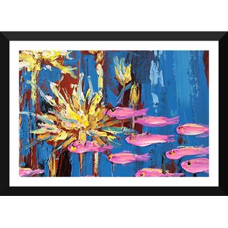 Tallenge - Contemporary Art - Pink Fish In Pond - Large Size Ready To Hang Framed Digital Art Print On Photographic Paper For Home And Office Decor (16x24 Inches)