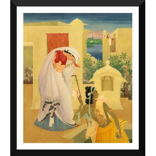 Tallenge - Radha And Krishna - Abdur Rahman Chugtai - Medium Size Ready To Hang Framed Digital Art Print On Photographic Paper For Home And Office Decor (15x18 Inches)