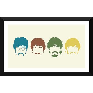 Tallenge - The Beatles Silhouette Haircut Mustache Members - Medium Size Ready To Hang Framed Digital Art Print On Photographic Paper For Home And Office Decor (10x18 Inches)