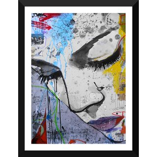 Tallenge - Contemporary Art - Whats On Her Mind - Xlarge Size Ready To Hang Framed Digital Art Print On Photographic Paper For Home And Office Decor (22x30 Inches)