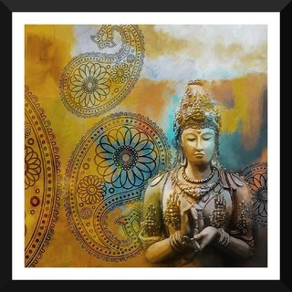 Tallenge - Contemporary Asian Art - Small Size Ready To Hang Framed Digital Art Print On Photographic Paper For Home And Office Decor (12x12 Inches)