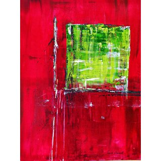 Tallenge - Red Green Abstract - Small Size Unframed Rolled Digital Art Print On Photographic Paper For Home And Office Decor (9x12 Inches)
