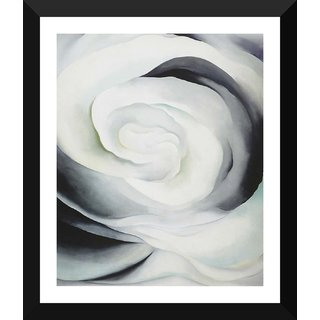 Tallenge - Georgia O'Keeffe - Abstraction White Rose 1 - Xlarge Size Ready To Hang Framed Digital Art Print On Photographic Paper For Home And Office Decor (25x30 Inches)