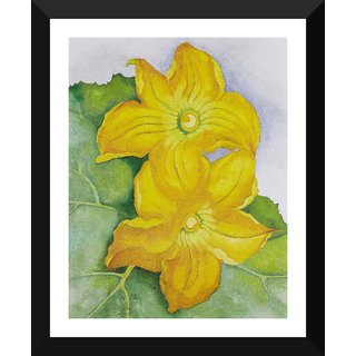 Tallenge - Georgia O'Keeffe - Squash Blossoms - Small Size Ready To Hang Framed Digital Art Print On Photographic Paper For Home And Office Decor (9x12 Inches)