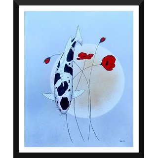 Tallenge - Koi Painting - Xlarge Size Ready To Hang Framed Digital Art Print On Photographic Paper For Home And Office Decor (24x30 Inches)