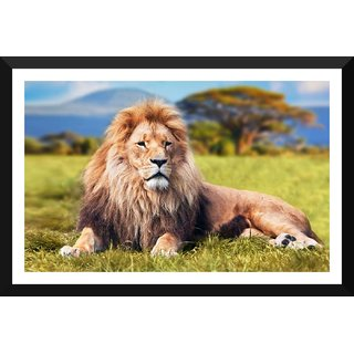 Tallenge - Beautiful Lion In The Savanna - Small Size Ready To Hang Framed Digital Art Print On Photographic Paper For Home And Office Decor (8x12 Inches)