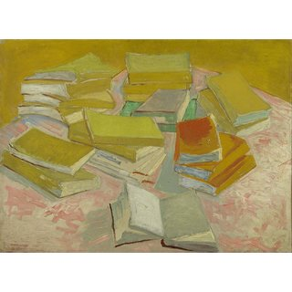 Tallenge - Piles Of French Novels By Vincent Van Gogh - Large Size Unframed Rolled Digital Art Print On Photographic Paper For Home And Office Decor (18x24 Inches)