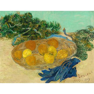 Tallenge - Still Life Of Oranges And Lemons With Blue Gloves By Vincent Van Gogh - Large Size Unframed Rolled Digital Art Print On Photographic Paper For Home And Office Decor (18x24 Inches)