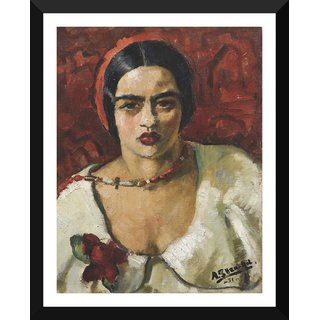 Tallenge - Amrita Sher-Gil Self Portrait  - Medium Size Ready To Hang Framed Digital Art Print On Photographic Paper For Home And Office Decor (14x18 Inches)