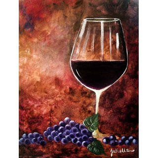 Tallenge - Bar Art - A Glass Of Wine And Grapes - Small Size Unframed Rolled Digital Art Print On Photographic Paper For Home And Office Decor (9x12 Inches)