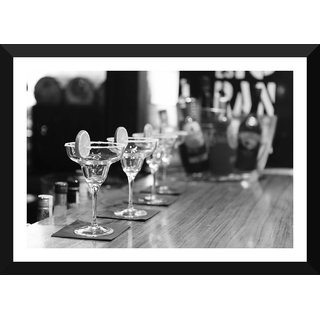 Tallenge - Bar Art - Black And White Bar Drinks - Medium Size Ready To Hang Framed Digital Art Print On Photographic Paper For Home And Office Decor (12x18 Inches)