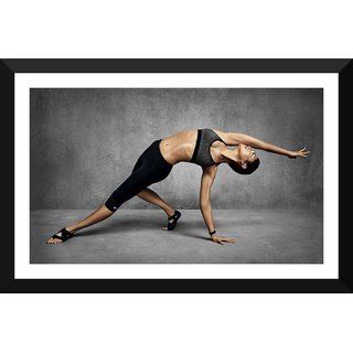 Tallenge - Gym Art - The Joy Of Stretching - Xlarge Size Ready To Hang Framed Digital Art Print On Photographic Paper For Home And Office Decor (18x30 Inches)