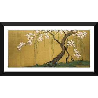 Tallenge - Hoitsu - Maples And Cherry Trees - Xlarge Size Ready To Hang Framed Digital Art Print On Photographic Paper For Home And Office Decor (14x30 Inches)